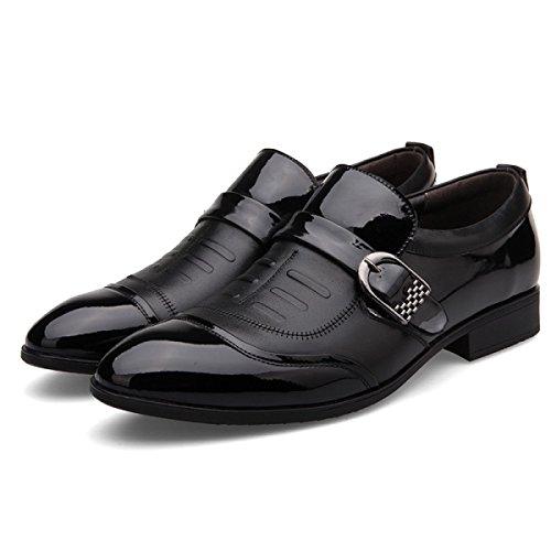 GRRONG Herren Lederschuhe Echtes Leder Freizeit Geschäft Schwarz Black