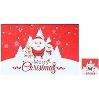 BESTOYARD Juego de Posavasos de la Copa de la Tabla de Navidad. Decoración de Escritorio para la Cocina en casa. Restaurante Hotel (White Santa)