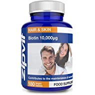 Biotin 10,000mcg | 180 Vegan Tablets | for Hair & Skin | Six Months Supply | Vegetarian Society Approved