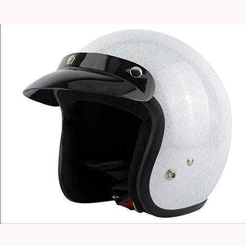 AHNNER Retro Harley Motorrad Halbhelm, Cruiser Adult Ladies Riding Sonnenschutzbrille Helm Vintage Motorrad Jethelm, 58-61Cm,L -