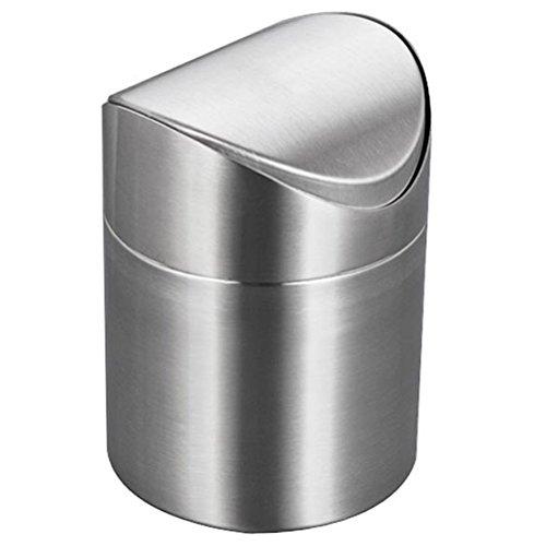 LianShi 2L Edelstahl Desktop Mülleimer Swing Top Mülleimer für Küche Schlafzimmer Büro Countertop -