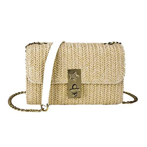 XZDCDJ UmhängeTaschen Damen Damen Mode Umhängetasche einfarbig Handtasche gewebt Tasche Strandtasche Khaki