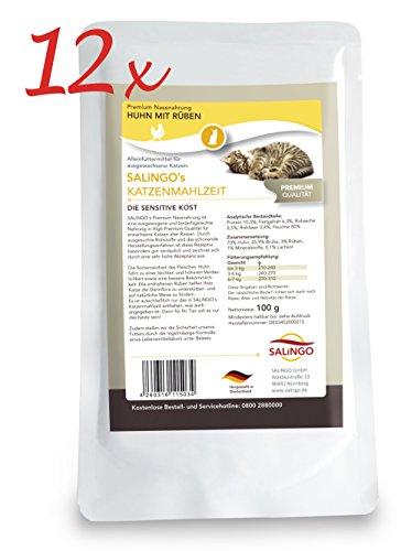 SALiNGO Katzenfutter nass, Huhn und Rüben, getreidefrei (12x100g) (Lebensmittel Kosten)