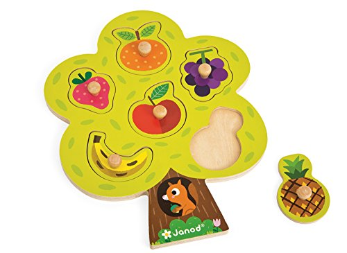 Janod J07061 - Puzzle Albero e Frutta, Legno, 6 Pezzi