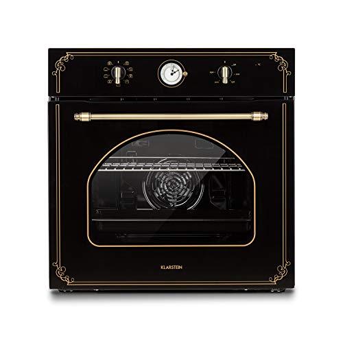 Klarstein Victoria four encastré - four électrique, four rétro, 9 fonctions, minuterie, 50-250°C, 70L, 10 positions pour plaques, porte amovible pour un nettoyage facile, éclairage, noir