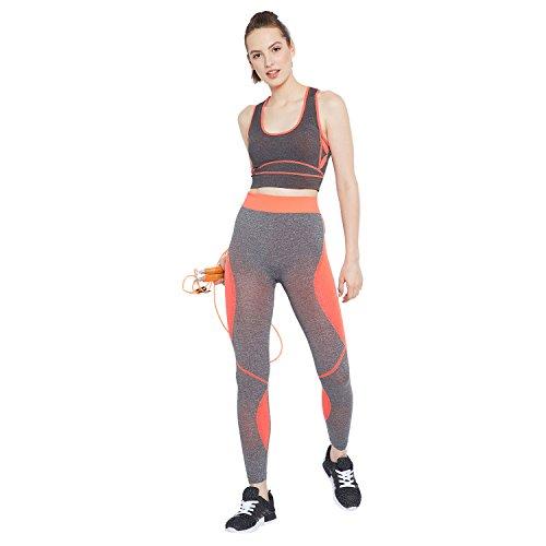 Camey Women 2 Pcs Sport Suits High Impact Sports Bra Yoga Pants Gym Outfits Breathable Exercise Stretchable Bra and Leggings (LT55_03.SET.ORANGE)