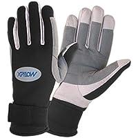 Motivex–Guantes Neopreno toda dedos, Palmas reforzado, guantes para deportes acuáticos, Vela y mucho más, unisex, color negro, tamaño medium