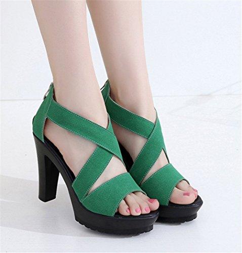 Wealsex damen sandalen plateau sommer schuhe Grün
