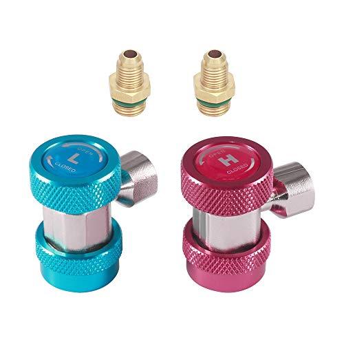 Verdelife Adapter für Klimaanlage, einstellbare R134A-Adapteranschlüsse Schnellkupplung Hoch Niedrig Wechselstrom Freon Manifold Gauge Schlauchumbausatz