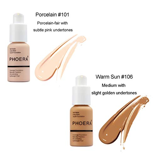 DEELIN Liquid Foundation PHOERA Liquid Matte Volldeckung Deckt Shadows Skin Care Foundation Oil...