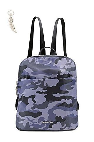 Rucksack von Waipuna aus hochwertigem Nylon, Rucksacktasche mit Schlüsselanhänger, Tasche mit schönen, braunen PU-Leder Details, camouflage grau