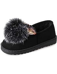 Femmes Ballerines Mocassins d'hiver Belle Boule De Fourrure Chaude Fourrure Chaude Glisser sur des Chaussures De Coton Confort