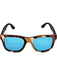 Caprio Blue & Brown Wooden Frame Patterned Unisex Square Sunglasses