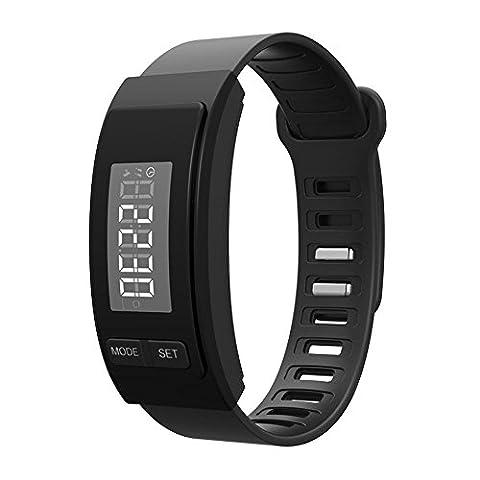 Montre LED Kobwa- résistant à l'eau -Affichage digital, sport, unisexe -Bracelet en caoutchouc -podomètre , noir