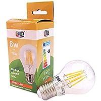 Lampada Filo Led Con Filamento E27 A60 8W 360 Gradi Bianco Caldo 2700K Bulbo Sfera Palla Goccia&#8230,