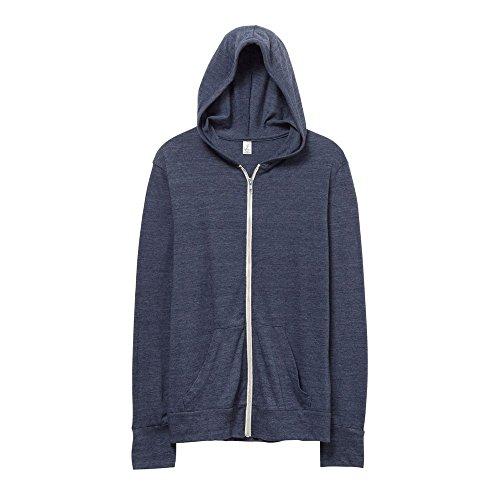 Alternativa Abbigliamento da Uomo Eco-Jersey Zip Hoodie, Uomo, AT002, Eco True Navy, M