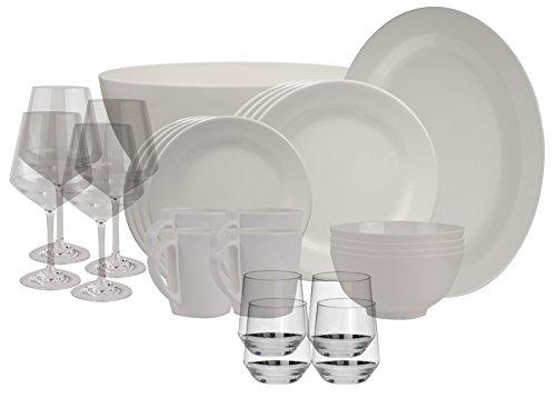 100% Melamin-Geschirr Plain elfenbeinweiss rund + Wein-…   04260241465693