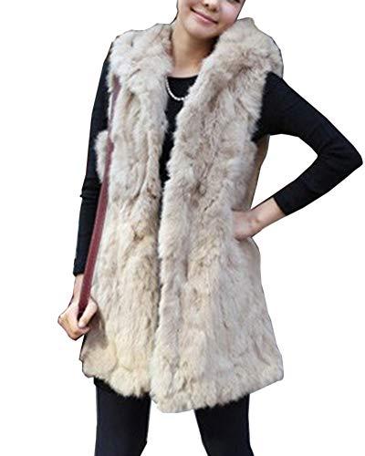 Guiran gilet di pelliccia ecologica donna lunghi con cappuccio cappotto senza maniche giacchetto giubbotto parka albicocca xl
