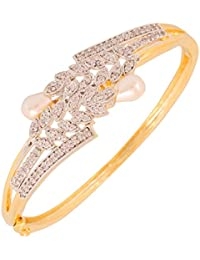 Touchstone Brass Base White Cubic Zirconia Designer Openable Bracelet In Gold And Silver Tones For Women