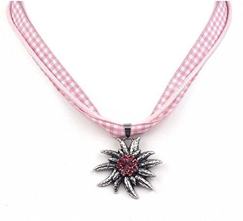 EROSPA® Trachten Hals-Kette mit silbernen Edelweiss-Anhänger Damen Schmuck Oktoberfest Dirndl Trachtenmode Wiesn pink kariert