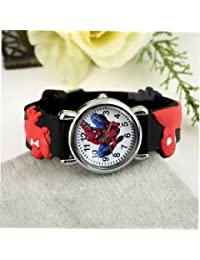 SLB Works Brand New Spider Man Marvel Cartoon Child Boys Kids Analog Quartz Wrist Watch Rubber LY