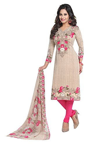 Ishin Women's Synthetic Beige & Pink Bollywood Printed Unstitched Salwar Suit Dress Material (Anarkali/Patiyala) With Dupatta  available at amazon for Rs.299