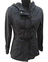 Molly Mujer Alto Collar Espesar Largo Trench Abrigo Oscuro Gris