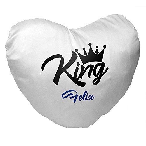 Herz-Kissen mit Namen Felix und King-Motiv für Männer | Geschenk zum Valentinstag für Verliebte | Kuschelkissen 3