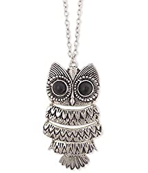 The Trendy Trendz Silver Owl Fashion Necklace For Women