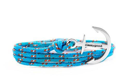 classygood-Edelstahl-Anker-Armband-Damen-Herren-Nylon-Band-hellblau