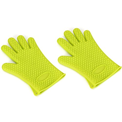 lidahaotin 1 Paar 230 ° C hitzebeständige Silikon-Anti-Rutsch-Ofen-Handschuhe Anti Scalding Kochen Backen Helper Fünf-Finger Lange Mitt Grün