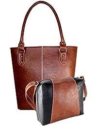 Fargo Fine Line PU Leather Women's & Girl's Shoulder Handbag & Sling Bag Combo Of 2 (Brown,Brown-Black_FGO-067)