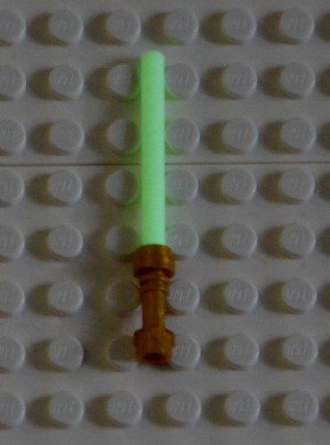 LEGO star wars : 10 sabres lasers dans le noir et lumineux (glow in white dark) avec poignée dorée