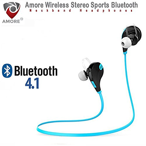 Amore Bluetooth 4.1 Wireless Blue Stereo Sport Headphones Headset with Built In Mic Running Hiking Exercise Hi-Fi Sound Hands-Free Calling Compatible with Samsung Galaxy, Note, Edge, Gionee, Intex, Karbonn, Lenovo, Iphone, Nokia, Nexus, Oppo, Vivo, Coolpad, One Plus, Moto, Sony and All Android Mobiles Bluetooth Headset with Volume Control Button