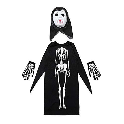 Zygeo - Halloween-Kostüm Skelett Dämon Hexe Umhang + Maske + Handschuhe Halloween-Kostüm Cosplay Set für Erwachsene Kinder [SF] (Halloween Kostüme Sf)