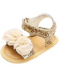 6c4965586dab0 Bluestercool Chaussures Premiers Pas Nouveau-né Bébés Filles Fashion Fleurs  Paillettes Sandales de Plage Chaussures