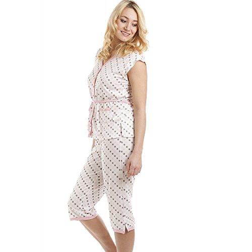 Pigiama mezza manica/pantalone capri misto cotone a pois tortora e rosa su sfondo bianco Rosa
