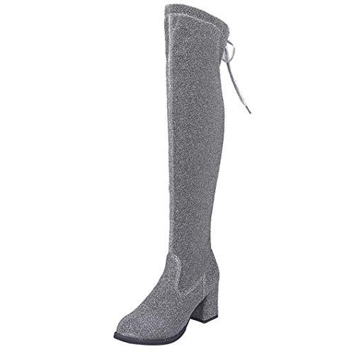 (Frauen Stretch Lace-Up Pailletten Tuch High Heels Stiefel Sexy Mode Über das Knie Stiefel High Heels Schuhe)
