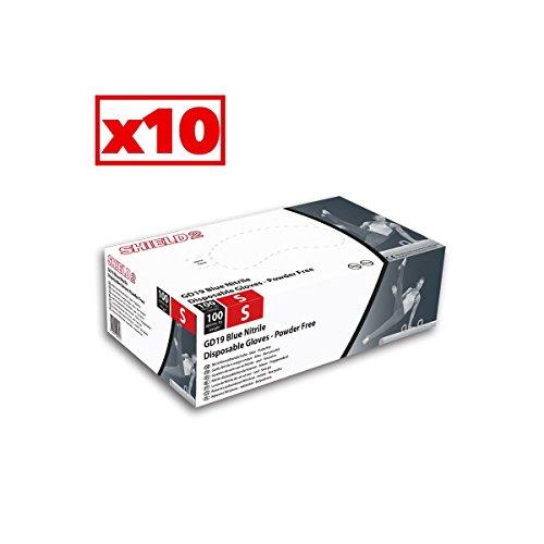 shield2 BLU NITRILE GUANTI - SENZA POLVERE - BOX DA 10 scatole di 100 GD19_10 - S (6-7)