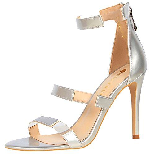 Oasap Women's Open Toe Hollow out Stiletto Heels Sandals silver