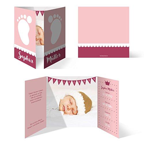 Geburtskarten (30 Stück) - Fußabdrücke Rosa - Geburt Babykarten Mädchen Klappkarten