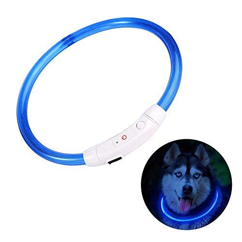 Bello Luna LED Collar de Perro, USB Recargable y Ajuste de Longitud Ajustable para Todos los Perros Gatos Collar de Mascota Collar Azul