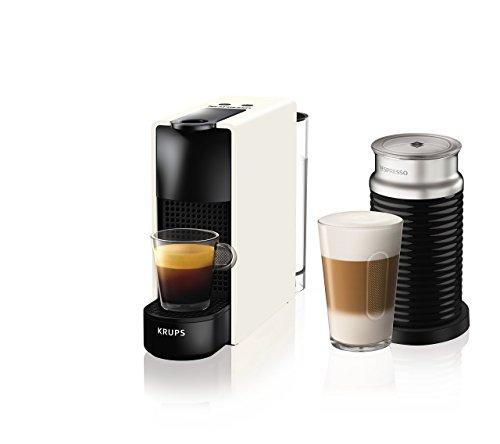 Krups - Nespresso Essenza Mini, 1200 W, colore: Nero Essenza, Mini con Aeroccino 20.4 x 8.4 x 33 cm bianco
