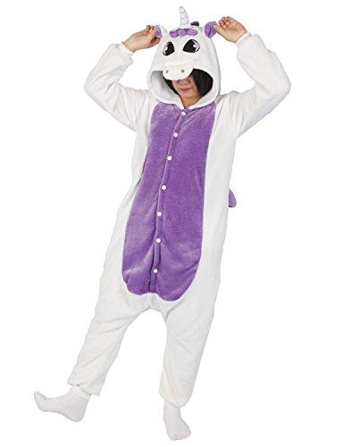 Très chic mailanda pigiama cosplay carnevale animale sleepwear halloween donna con ali e code costume uomo camicie da notte (s per altezza 148-160cm, viola unicorn)