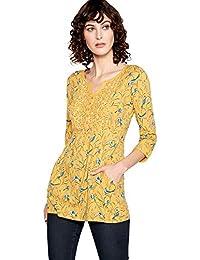 e145fedcfe16 Mantaray Womens Yellow Bird Print Cotton Top