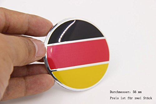 R269 Deutsch Flagge 2 stück Felgendeckel 3D Emblem Applique Auto Aufkleber Nabendeckel Radkappen Nabenkappen 56 mm Vw Nabenkappen 56mm