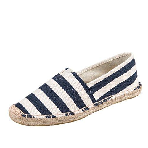 Schuhe Damen Flache Stiefel Gestreift Espadrilles Freizeitschuhe DOLDOA