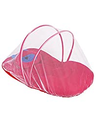 Littly Contemporary Velvet Baby Bedding Set with Foldable Mattress, Mosquito Net and Pillow (Magenta / Pink)