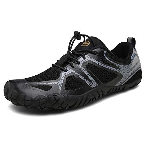 FOGOIN Barfußschuhe Herren Damen Outdoor Fitnessschuhe Laufschuhe Minimalistische Sneaker im Sommer Gr.37-47, Schwarze, 44 EU