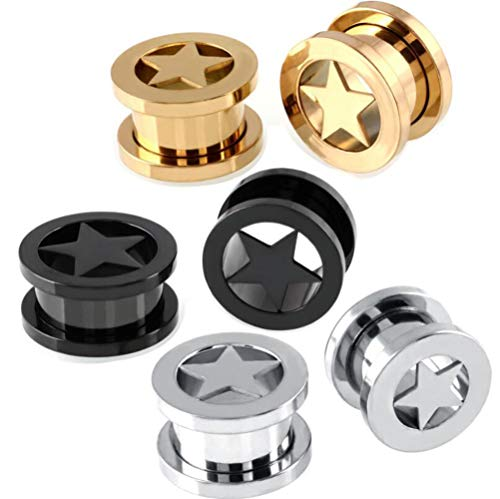 ANLW Ear Stretching Piercing Set, Tapers Tunnels Plugs, Tunnels Ear Stretching Set, Gauges Kit Plugs Tapers, 6Pcs Stainless Steel Ear Expansion Pentagram Channel Human Puncture,14Mm
